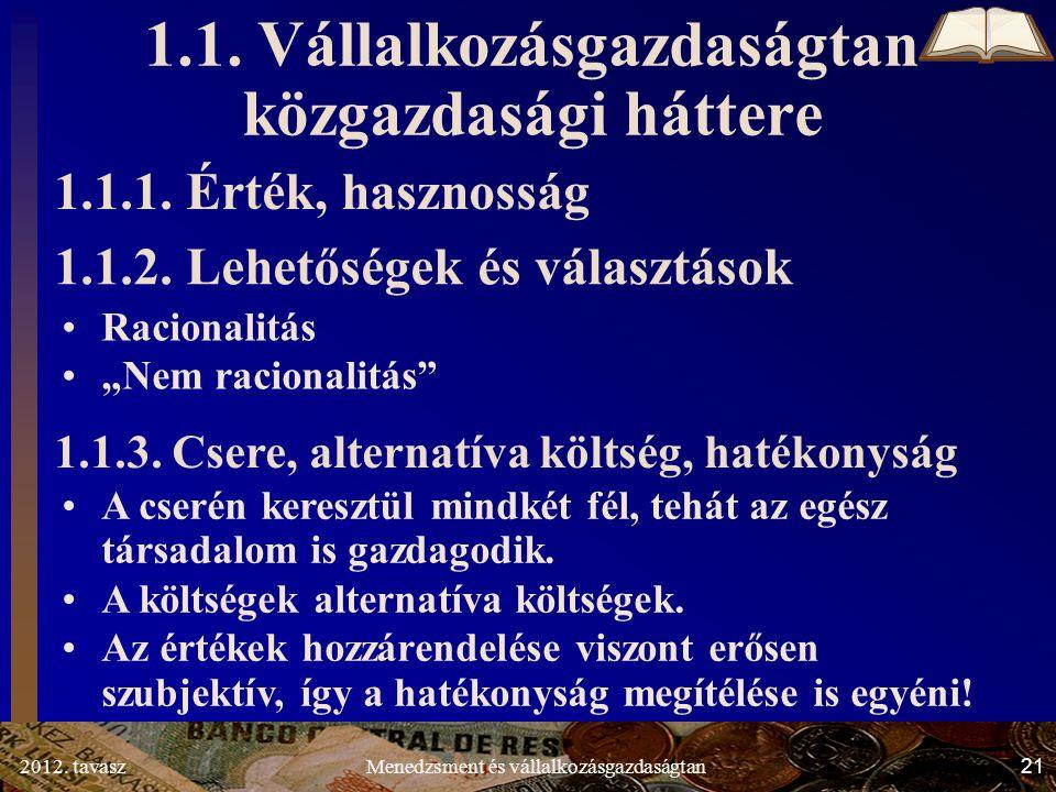 2012. tavasz21Menedzsment és vállalkozásgazdaságtan 1.1.