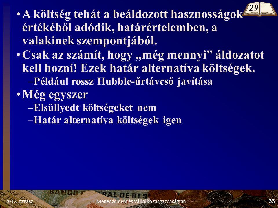 2012. tavasz33Menedzsment és vállalkozásgazdaságtan A költség tehát a beáldozott hasznosságok értékéből adódik, határértelemben, a valakinek szempontj