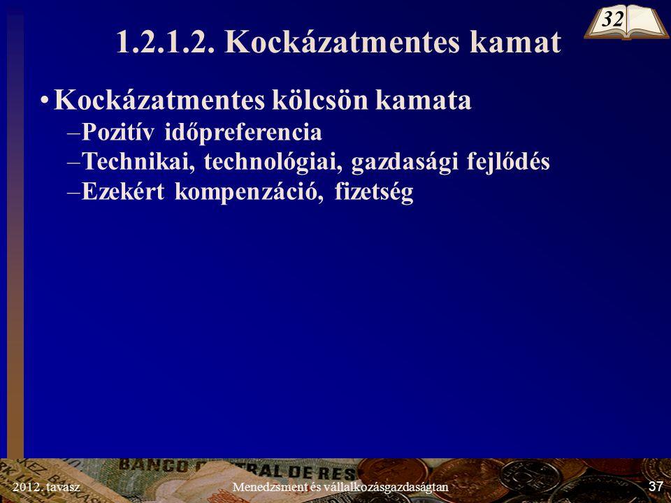 2012. tavasz37Menedzsment és vállalkozásgazdaságtan Kockázatmentes kölcsön kamata –Pozitív időpreferencia –Technikai, technológiai, gazdasági fejlődés