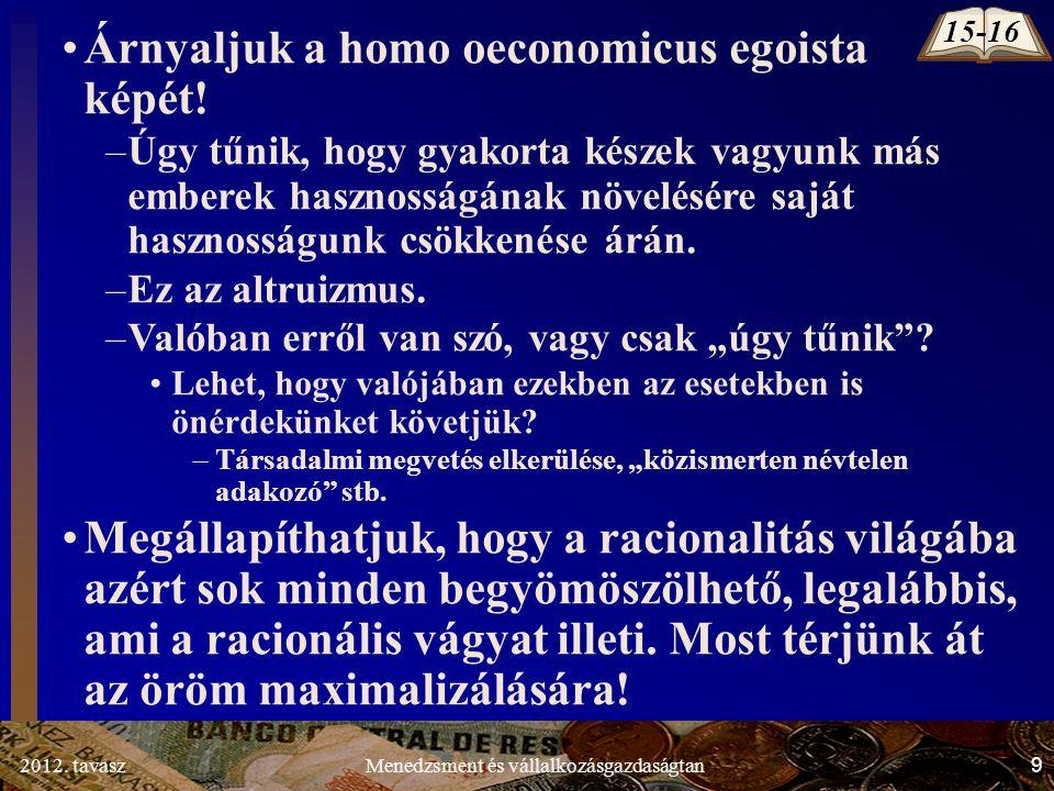 2012. tavasz9Menedzsment és vállalkozásgazdaságtan Árnyaljuk a homo oeconomicus egoista képét.