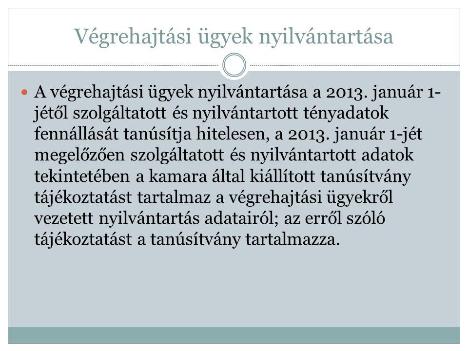 Végrehajtási ügyek nyilvántartása A végrehajtási ügyek nyilvántartása a 2013. január 1- jétől szolgáltatott és nyilvántartott tényadatok fennállását t