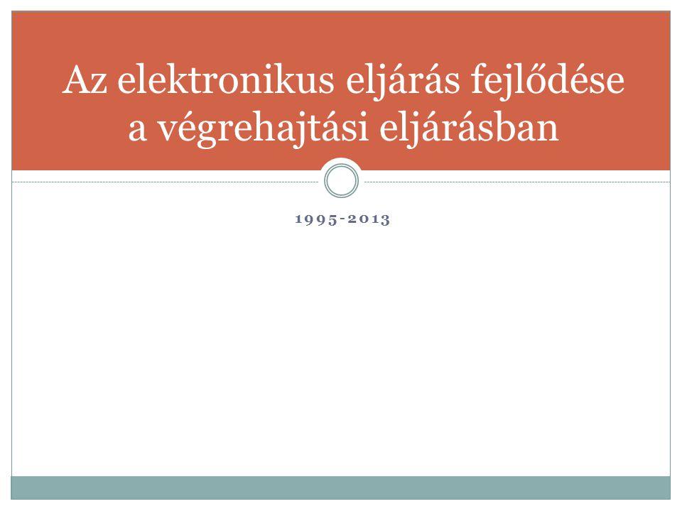 Az elektronikus eljárás fejlődése a végrehajtási eljárásban 1995-2013