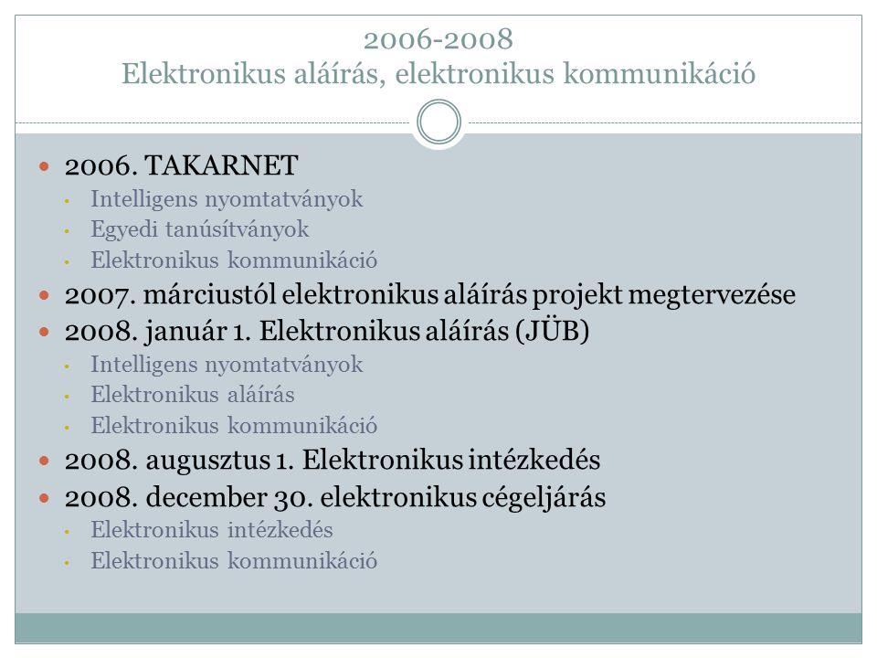 2006. TAKARNET Intelligens nyomtatványok Egyedi tanúsítványok Elektronikus kommunikáció 2007. márciustól elektronikus aláírás projekt megtervezése 200
