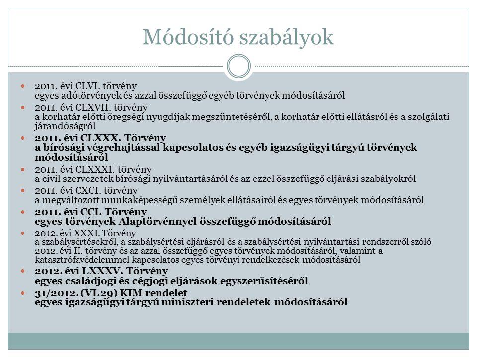 Módosító szabályok 2011.évi CLVI.