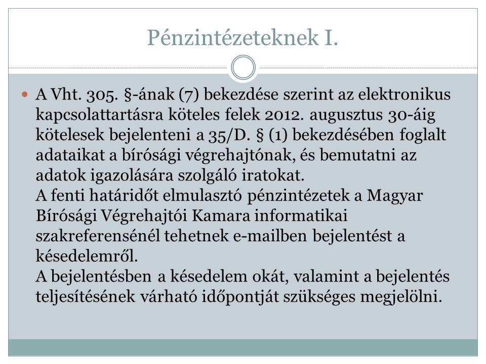 Pénzintézeteknek I. A Vht. 305. §-ának (7) bekezdése szerint az elektronikus kapcsolattartásra köteles felek 2012. augusztus 30-áig kötelesek bejelent
