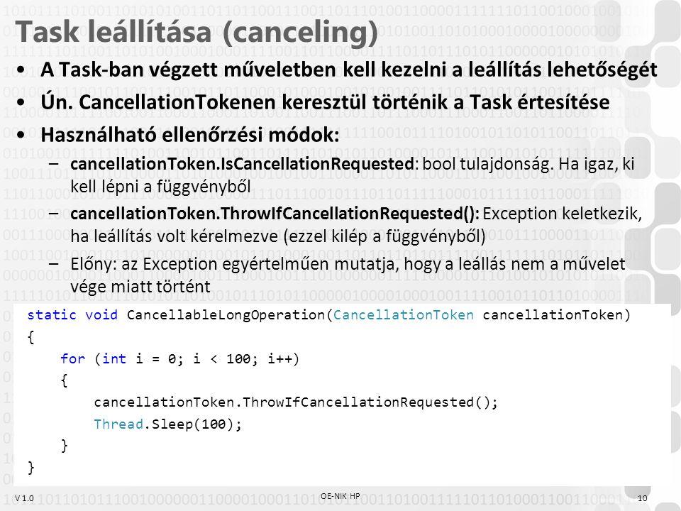 V 1.0 Task leállítása (canceling) A Task-ban végzett műveletben kell kezelni a leállítás lehetőségét Ún. CancellationTokenen keresztül történik a Task