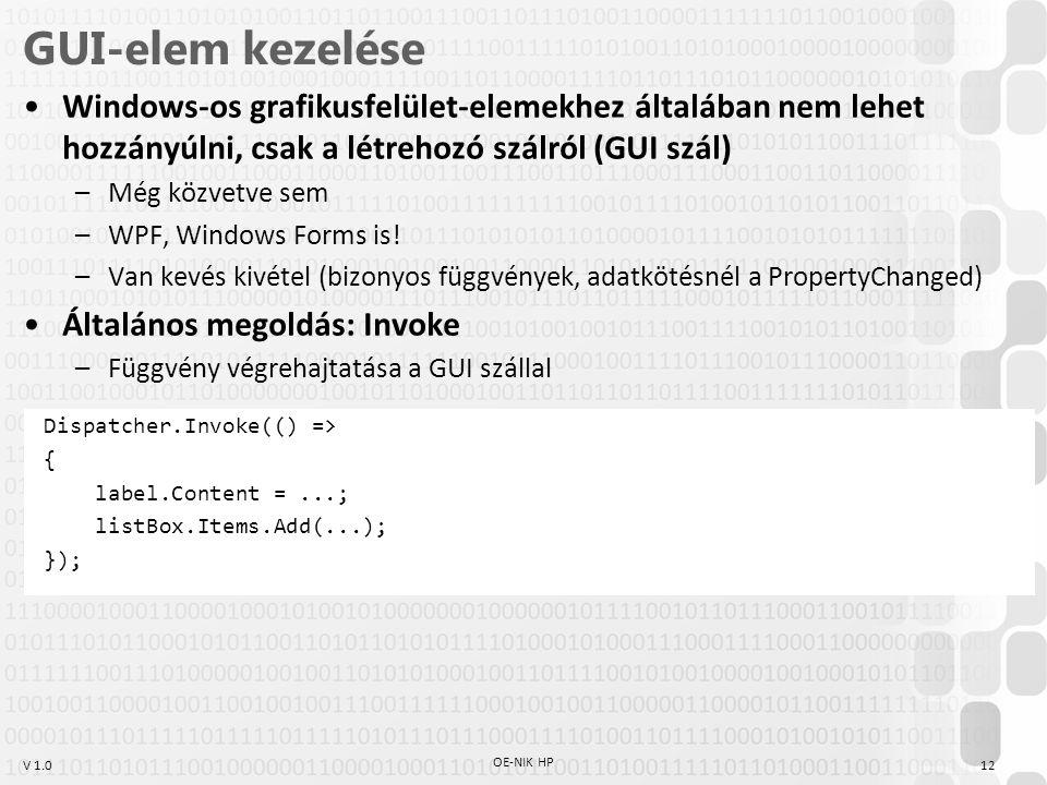 V 1.0 GUI-elem kezelése Windows-os grafikusfelület-elemekhez általában nem lehet hozzányúlni, csak a létrehozó szálról (GUI szál) –Még közvetve sem –W