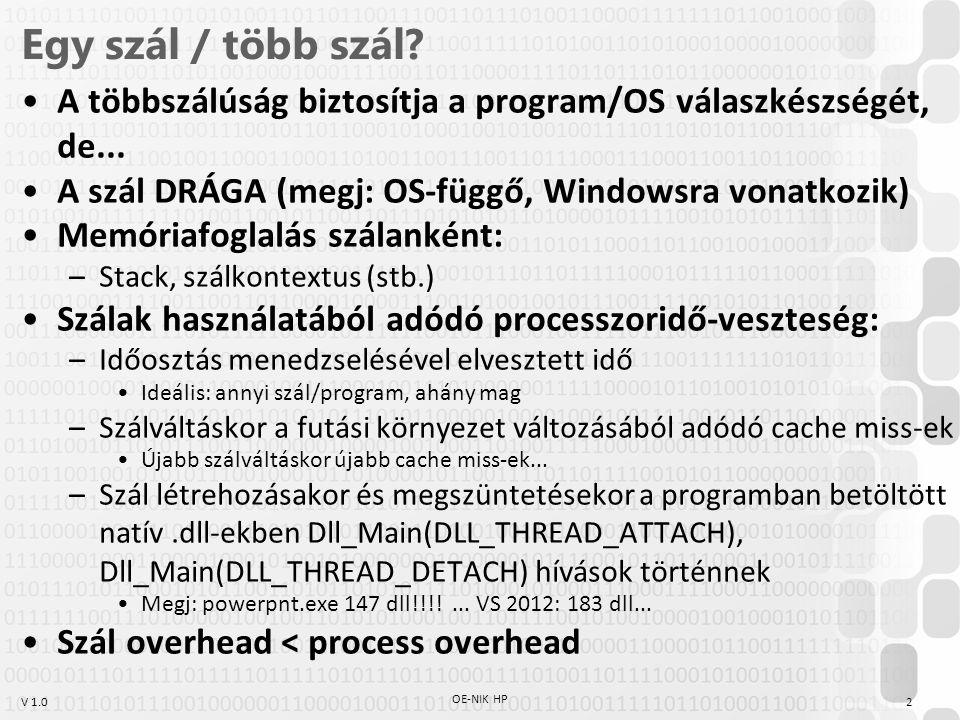 V 1.0 Egy szál / több szál? A többszálúság biztosítja a program/OS válaszkészségét, de... A szál DRÁGA (megj: OS-függő, Windowsra vonatkozik) Memóriaf