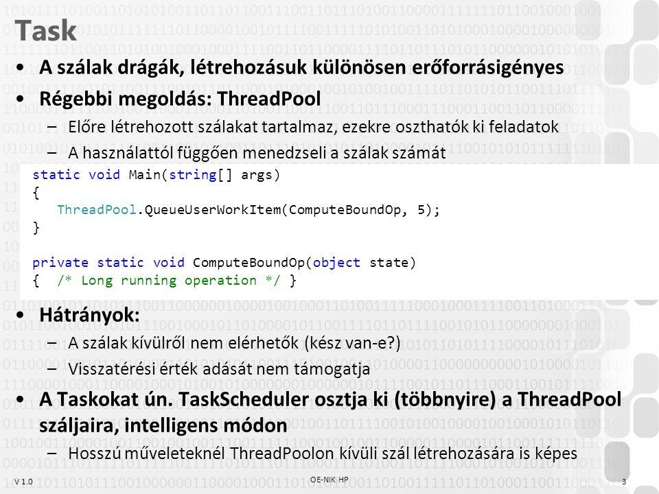 V 1.0 Task A szálak drágák, létrehozásuk különösen erőforrásigényes Régebbi megoldás: ThreadPool –Előre létrehozott szálakat tartalmaz, ezekre oszthat