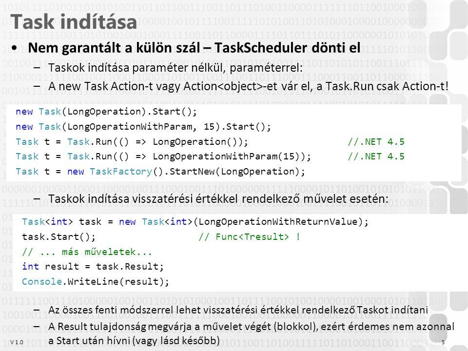 V 1.0 Task indítása Nem garantált a külön szál – TaskScheduler dönti el –Taskok indítása paraméter nélkül, paraméterrel: –A new Task Action-t vagy Act