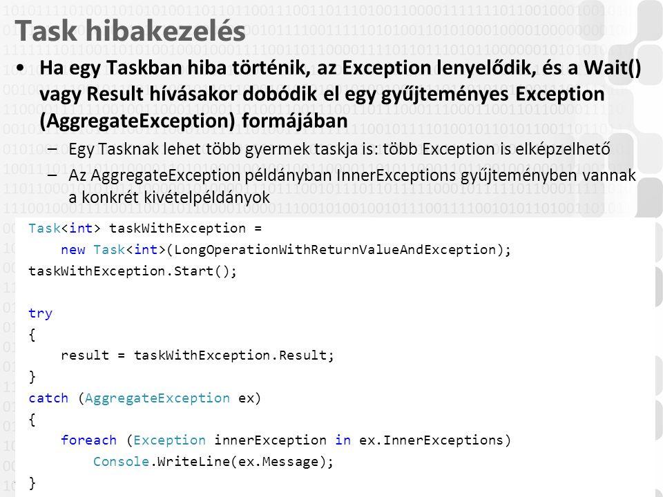 V 1.0 Task hibakezelés Ha egy Taskban hiba történik, az Exception lenyelődik, és a Wait() vagy Result hívásakor dobódik el egy gyűjteményes Exception