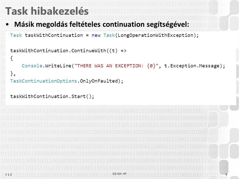 V 1.0 Task hibakezelés Másik megoldás feltételes continuation segítségével: OE-NIK HP 9 Task taskWithContinuation = new Task(LongOperationWithExceptio