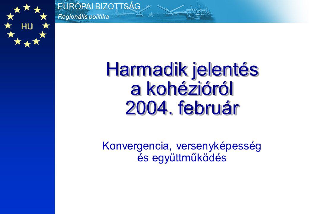 Regionális politika EURÓPAI BIZOTTSÁG HU Harmadik jelentés a kohézióról 2004 December HU 2 A kohéziós jelentések szerepe A Bizottság 3 évente elemzi a kohézió állapotát és politikáinak hozzájárulását a kohézióhoz (a Szerződés 159.