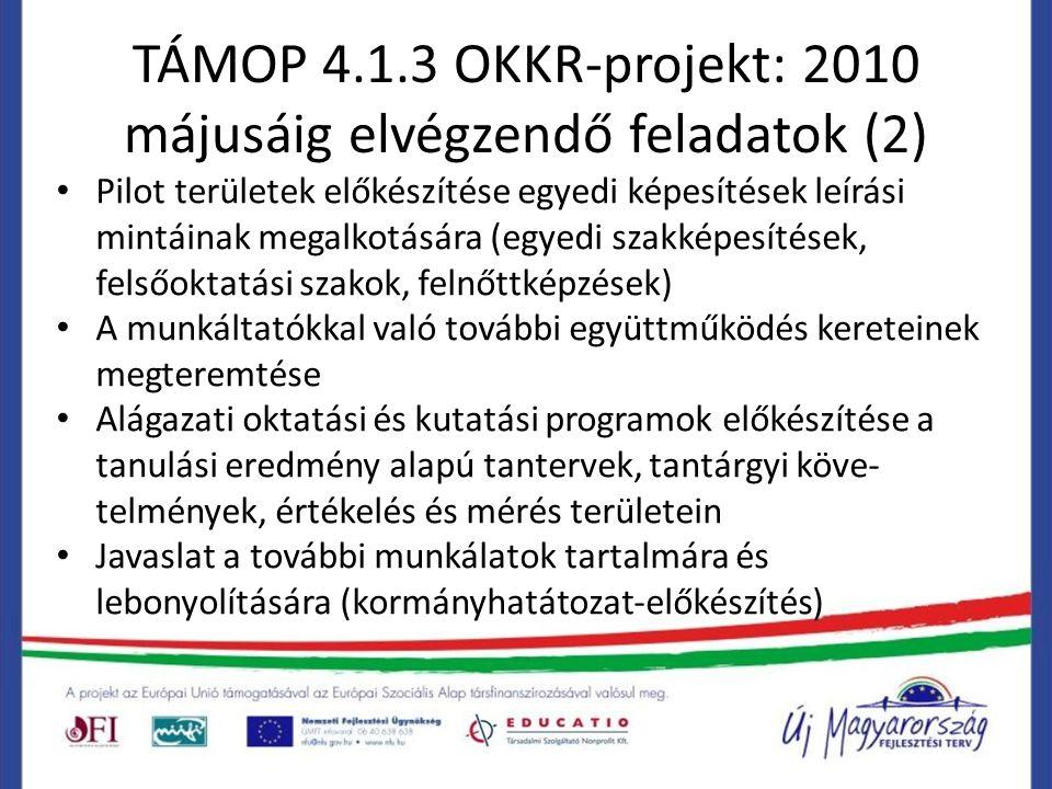 TÁMOP 4.1.3 OKKR-projekt: 2010 májusáig elvégzendő feladatok (2) Pilot területek előkészítése egyedi képesítések leírási mintáinak megalkotására (egyedi szakképesítések, felsőoktatási szakok, felnőttképzések) A munkáltatókkal való további együttműködés kereteinek megteremtése Alágazati oktatási és kutatási programok előkészítése a tanulási eredmény alapú tantervek, tantárgyi köve- telmények, értékelés és mérés területein Javaslat a további munkálatok tartalmára és lebonyolítására (kormányhatátozat-előkészítés)