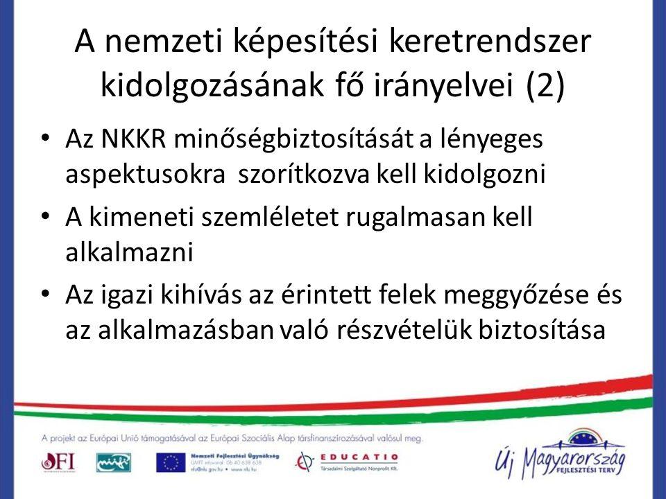 A nemzeti képesítési keretrendszer kidolgozásának fő irányelvei (2) Az NKKR minőségbiztosítását a lényeges aspektusokra szorítkozva kell kidolgozni A kimeneti szemléletet rugalmasan kell alkalmazni Az igazi kihívás az érintett felek meggyőzése és az alkalmazásban való részvételük biztosítása