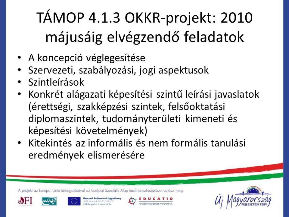 TÁMOP 4.1.3 OKKR-projekt: 2010 májusáig elvégzendő feladatok A koncepció véglegesítése Szervezeti, szabályozási, jogi aspektusok Szintleírások Konkrét alágazati képesítési szintű leírási javaslatok (érettségi, szakképzési szintek, felsőoktatási diplomaszintek, tudományterületi kimeneti és képesítési követelmények) Kitekintés az informális és nem formális tanulási eredmények elismerésére