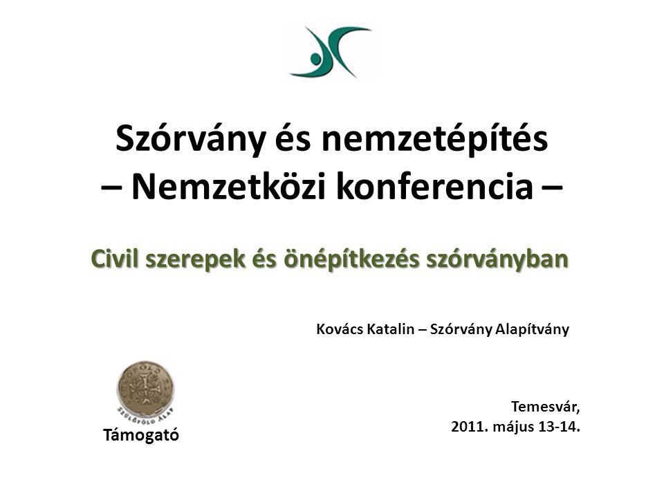 Szórvány és nemzetépítés – Nemzetközi konferencia – Civil szerepek és önépítkezés szórványban Kovács Katalin – Szórvány Alapítvány Temesvár, 2011.