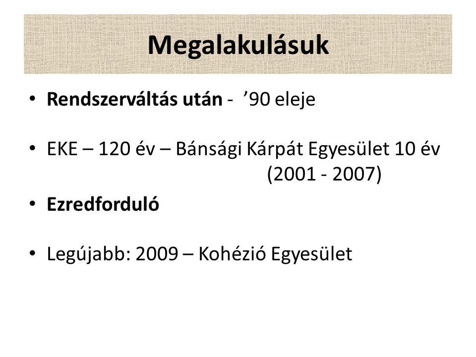 Megalakulásuk Rendszerváltás után - '90 eleje EKE – 120 év – Bánsági Kárpát Egyesület 10 év (2001 - 2007) Ezredforduló Legújabb: 2009 – Kohézió Egyesület