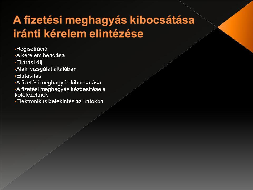 Regisztráció A kérelem beadása Eljárási díj Alaki vizsgálat általában Elutasítás A fizetési meghagyás kibocsátása A fizetési meghagyás kézbesítése a kötelezettnek Elektronikus betekintés az iratokba