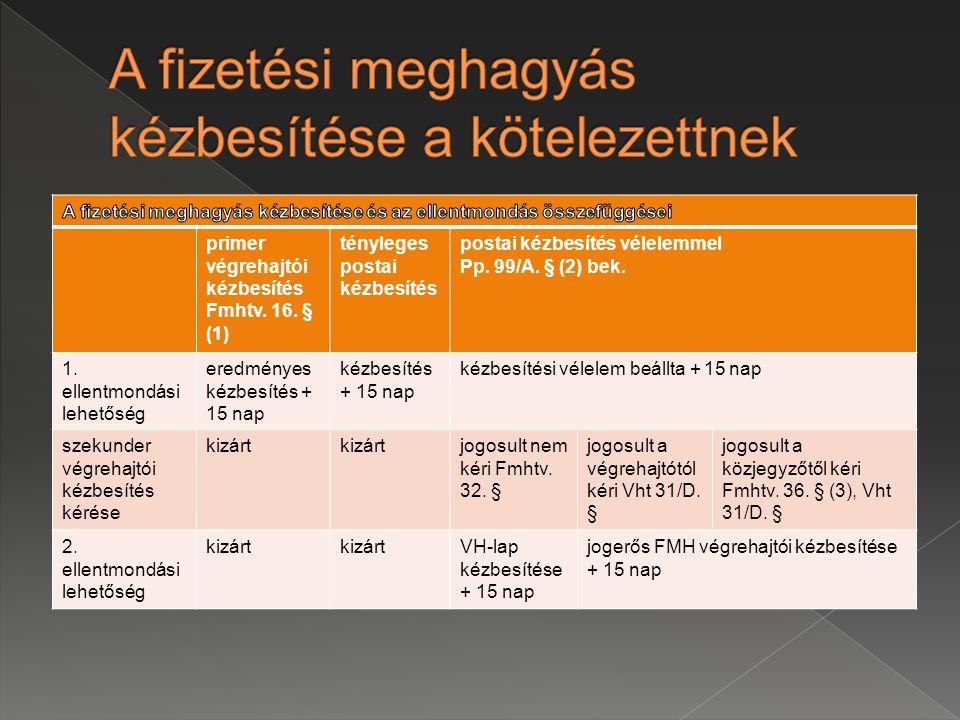 primer végrehajtói kézbesítés Fmhtv.16.