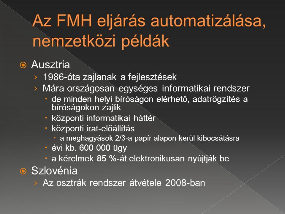  Ausztria › 1986-óta zajlanak a fejlesztések › Mára országosan egységes informatikai rendszer  de minden helyi bíróságon elérhető, adatrögzítés a bí