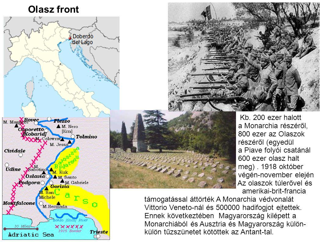 Olasz front Kb. 200 ezer halott a Monarchia részéről, 800 ezer az Olaszok részéről (egyedül a Piave folyói csatánál 600 ezer olasz halt meg). 1918 okt