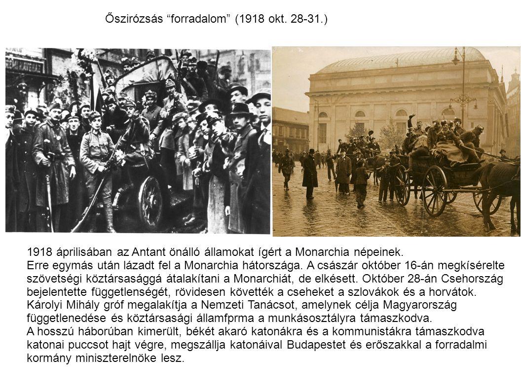 """Őszirózsás """"forradalom"""" (1918 okt. 28-31.) 1918 áprilisában az Antant önálló államokat ígért a Monarchia népeinek. Erre egymás után lázadt fel a Monar"""