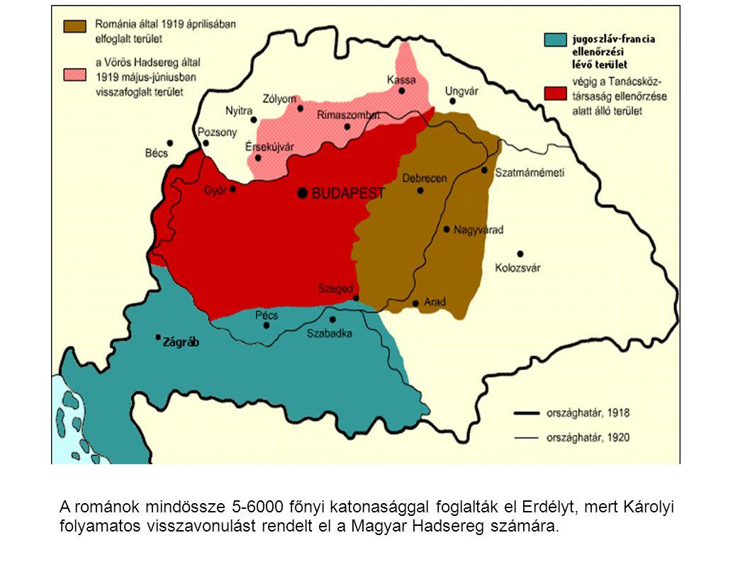 A románok mindössze 5-6000 főnyi katonasággal foglalták el Erdélyt, mert Károlyi folyamatos visszavonulást rendelt el a Magyar Hadsereg számára.