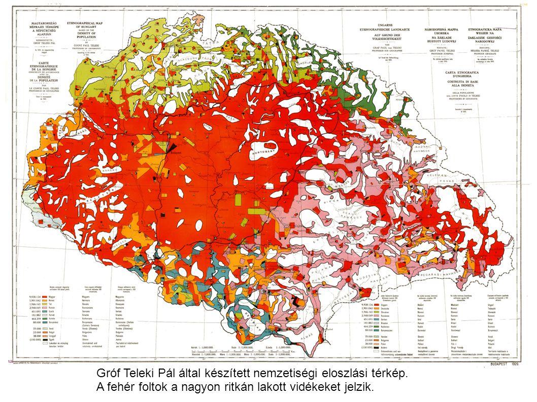 Gróf Teleki Pál által készített nemzetiségi eloszlási térkép. A fehér foltok a nagyon ritkán lakott vidékeket jelzik.