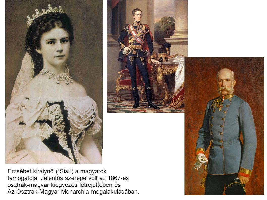 """Erzsébet királynő (""""Sisi"""") a magyarok támogatója. Jelentős szerepe volt az 1867-es osztrák-magyar kiegyezés létrejöttében és Az Osztrák-Magyar Monarch"""