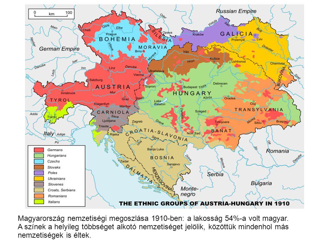 Magyarország nemzetiségi megoszlása 1910-ben: a lakosság 54%-a volt magyar. A színek a helyileg többséget alkotó nemzetiséget jelölik, közöttük minden