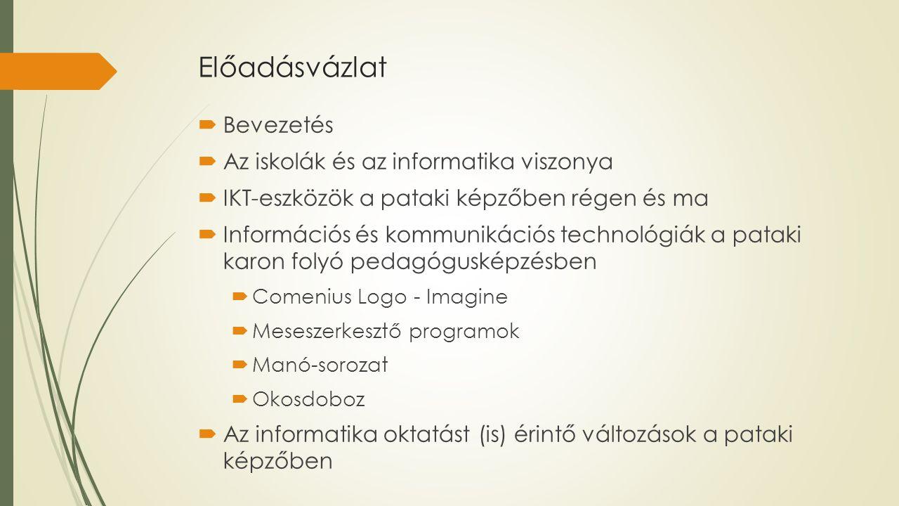 Előadásvázlat  Bevezetés  Az iskolák és az informatika viszonya  IKT-eszközök a pataki képzőben régen és ma  Információs és kommunikációs technoló