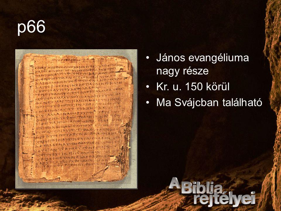 p66 János evangéliuma nagy része Kr. u. 150 körül Ma Svájcban található
