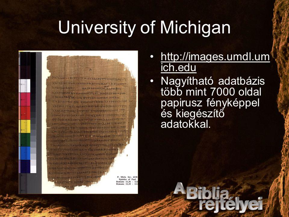 University of Michigan http://images.umdl.um ich.edu Nagyítható adatbázis több mint 7000 oldal papirusz fényképpel és kiegészítő adatokkal.