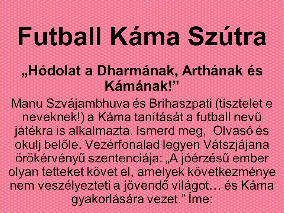 """Futball Káma Szútra """"Hódolat a Dharmának, Arthának és Kámának! Manu Szvájambhuva és Brihaszpati (tisztelet e neveknek!) a Káma tanítását a futball nevű játékra is alkalmazta."""