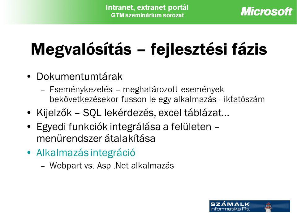 Intranet, extranet portál GTM szeminárium sorozat Megvalósítás – fejlesztési fázis Dokumentumtárak –Eseménykezelés – meghatározott események bekövetkezésekor fusson le egy alkalmazás - iktatószám Kijelzők – SQL lekérdezés, excel táblázat… Egyedi funkciók integrálása a felületen – menürendszer átalakítása Alkalmazás integráció –Webpart vs.