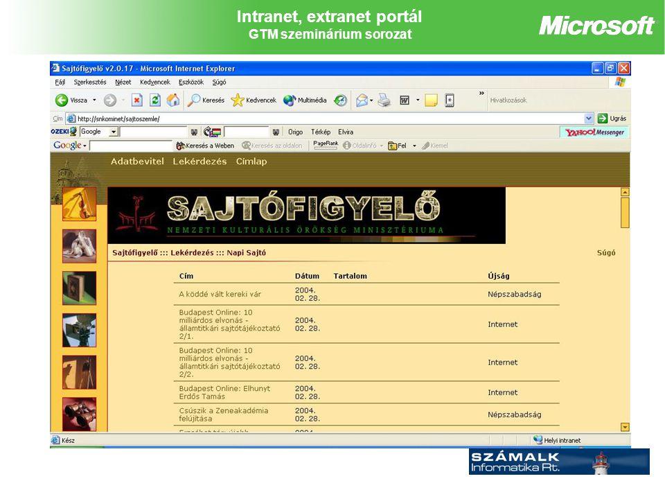 Intranet, extranet portál GTM szeminárium sorozat