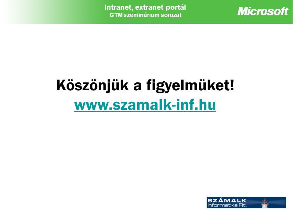 Intranet, extranet portál GTM szeminárium sorozat Köszönjük a figyelmüket.