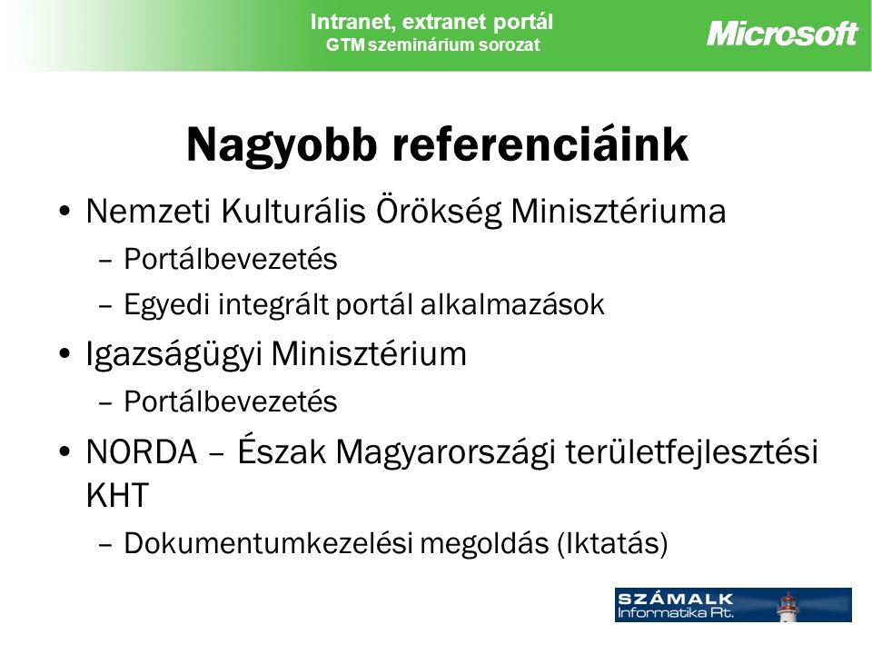 Intranet, extranet portál GTM szeminárium sorozat Nagyobb referenciáink Nemzeti Kulturális Örökség Minisztériuma –Portálbevezetés –Egyedi integrált portál alkalmazások Igazságügyi Minisztérium –Portálbevezetés NORDA – Észak Magyarországi területfejlesztési KHT –Dokumentumkezelési megoldás (Iktatás)