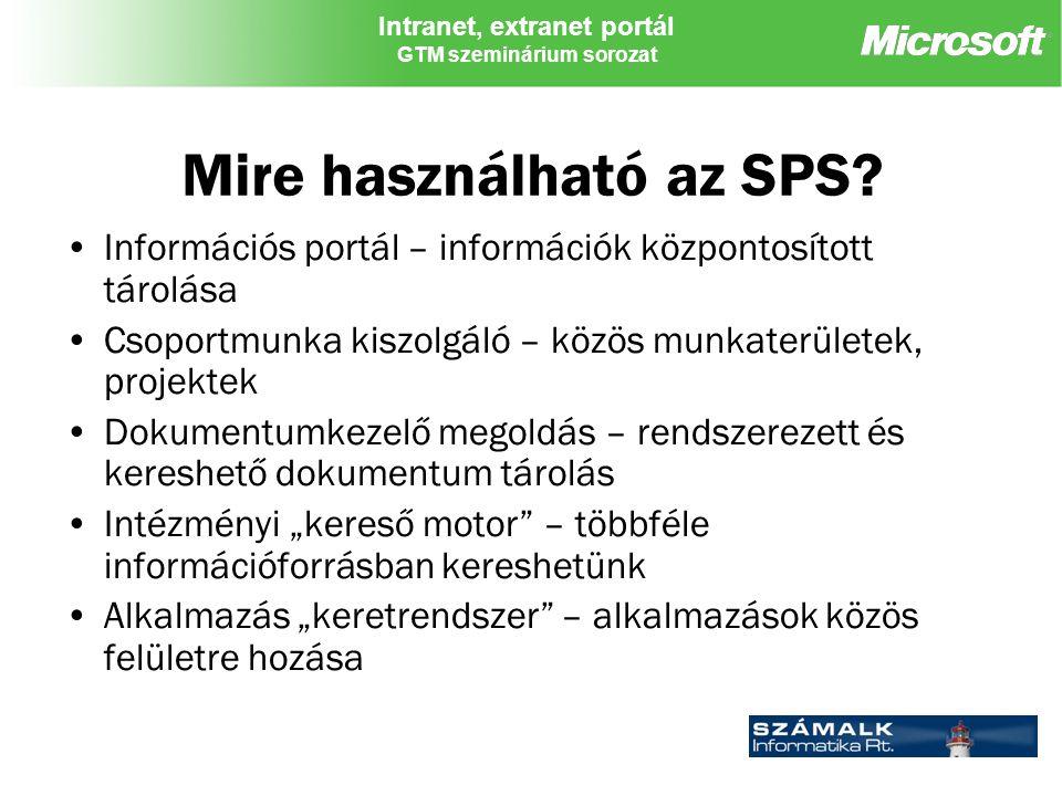Intranet, extranet portál GTM szeminárium sorozat Mire használható az SPS.