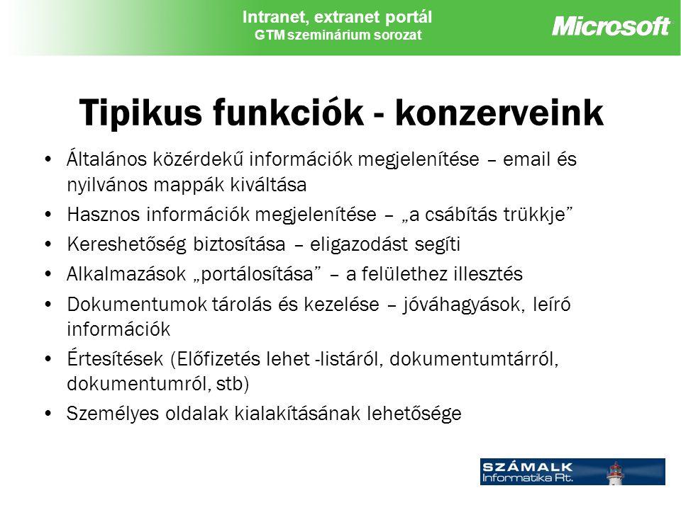 """Intranet, extranet portál GTM szeminárium sorozat Tipikus funkciók - konzerveink Általános közérdekű információk megjelenítése – email és nyilvános mappák kiváltása Hasznos információk megjelenítése – """"a csábítás trükkje Kereshetőség biztosítása – eligazodást segíti Alkalmazások """"portálosítása – a felülethez illesztés Dokumentumok tárolás és kezelése – jóváhagyások, leíró információk Értesítések (Előfizetés lehet -listáról, dokumentumtárról, dokumentumról, stb) Személyes oldalak kialakításának lehetősége"""