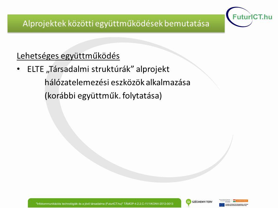 """Alprojektek közötti együttműködések bemutatása Lehetséges együttműködés ELTE """"Társadalmi struktúrák alprojekt hálózatelemezési eszközök alkalmazása (korábbi együttműk."""