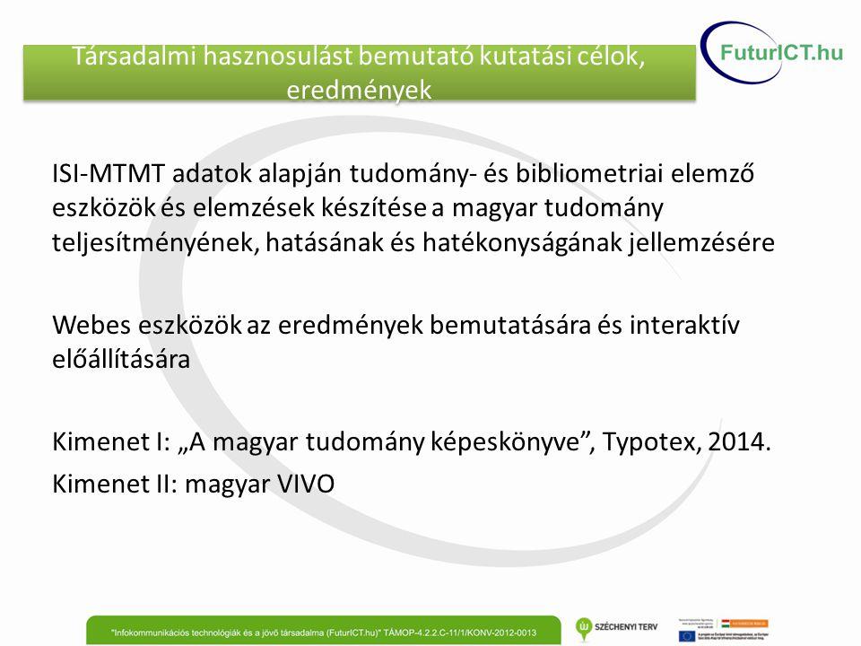 """Társadalmi hasznosulást bemutató kutatási célok, eredmények ISI-MTMT adatok alapján tudomány- és bibliometriai elemző eszközök és elemzések készítése a magyar tudomány teljesítményének, hatásának és hatékonyságának jellemzésére Webes eszközök az eredmények bemutatására és interaktív előállítására Kimenet I: """"A magyar tudomány képeskönyve , Typotex, 2014."""