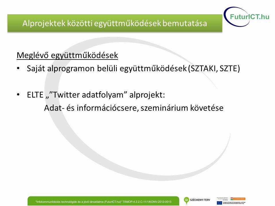 """Alprojektek közötti együttműködések bemutatása Meglévő együttműködések Saját alprogramon belüli együttműködések (SZTAKI, SZTE) ELTE """" Twitter adatfolyam alprojekt: Adat- és információcsere, szeminárium követése"""