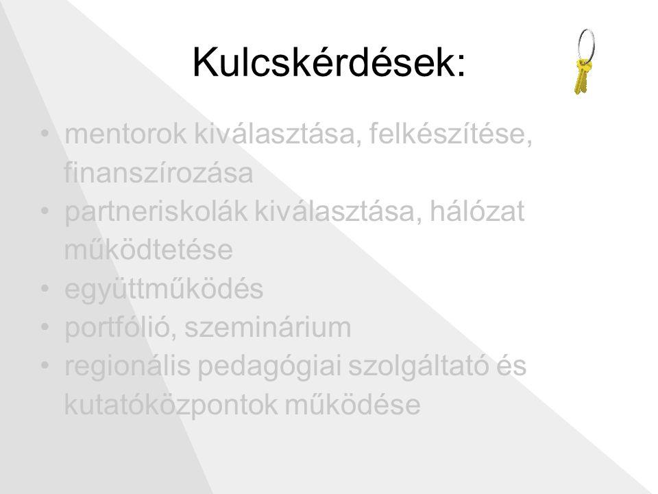 Kulcskérdések: mentorok kiválasztása, felkészítése, finanszírozása partneriskolák kiválasztása, hálózat működtetése együttműködés portfólió, szeminárium regionális pedagógiai szolgáltató és kutatóközpontok működése