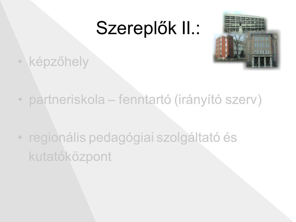 Szereplők II.: képzőhely partneriskola – fenntartó (irányító szerv) regionális pedagógiai szolgáltató és kutatóközpont