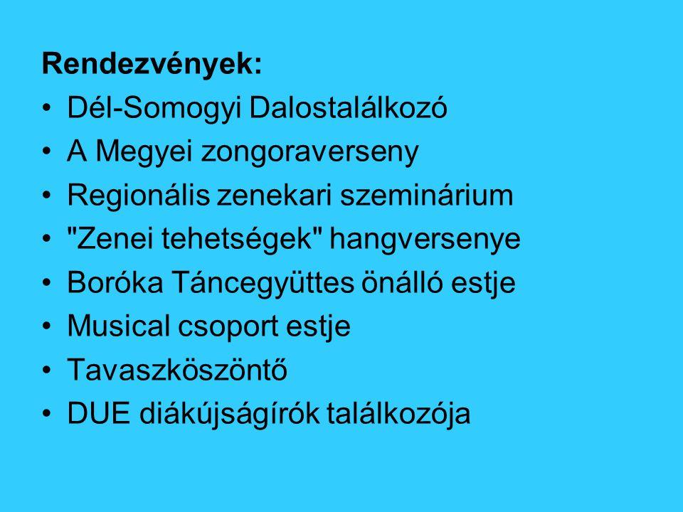 Rendezvények: Dél-Somogyi Dalostalálkozó A Megyei zongoraverseny Regionális zenekari szeminárium Zenei tehetségek hangversenye Boróka Táncegyüttes önálló estje Musical csoport estje Tavaszköszöntő DUE diákújságírók találkozója
