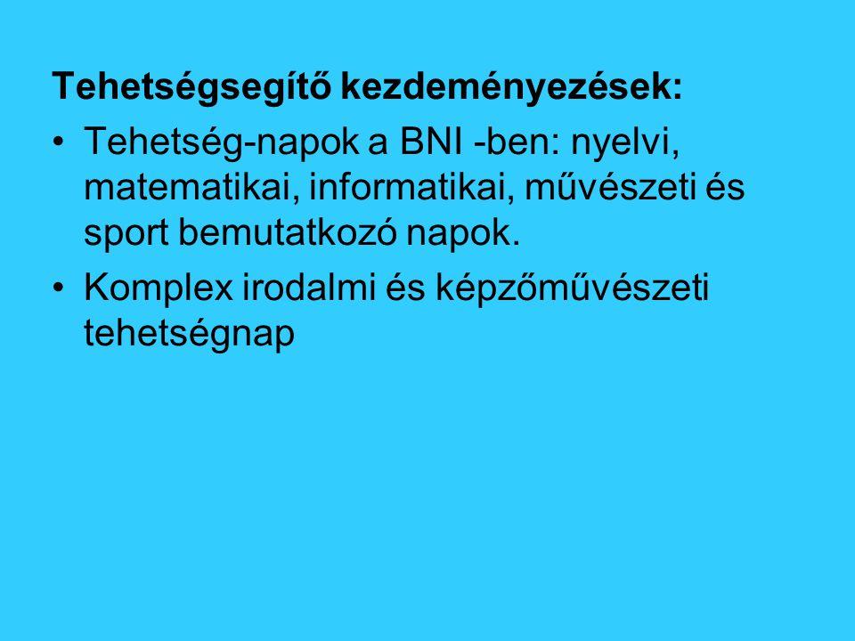 Tehetségsegítő kezdeményezések: Tehetség-napok a BNI -ben: nyelvi, matematikai, informatikai, művészeti és sport bemutatkozó napok.