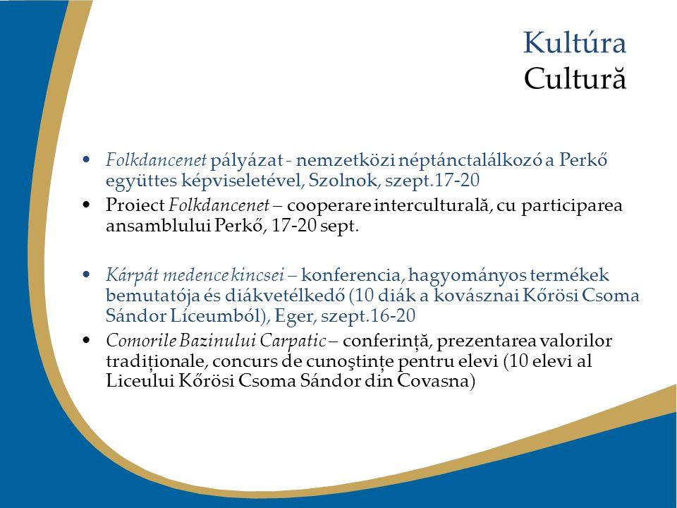 Kultúra Cultură Folkdancenet pályázat - nemzetközi néptánctalálkozó a Perkő együttes képviseletével, Szolnok, szept.17-20 Proiect Folkdancenet – coope