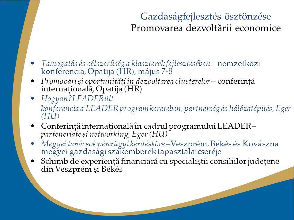 Gazdaságfejlesztés ösztönzése Promovarea dezvoltării economice Támogatás és célszerűség a klaszterek fejlesztésében – nemzetközi konferencia, Opatija